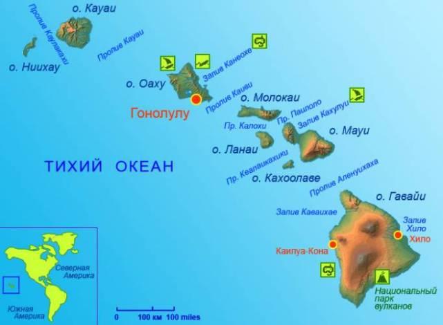 где находятся гавайские острова на карте