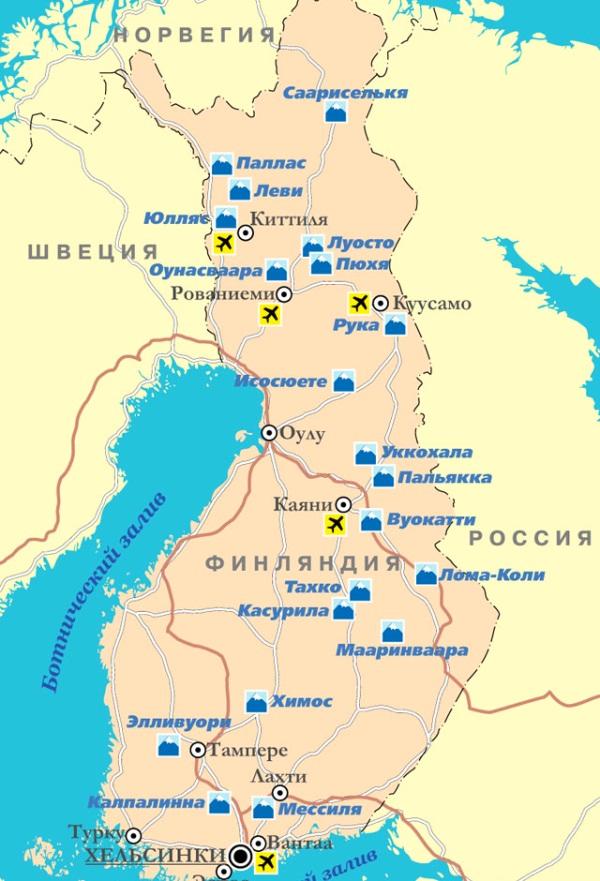 Горнолыжные курорты Финляндии на карте