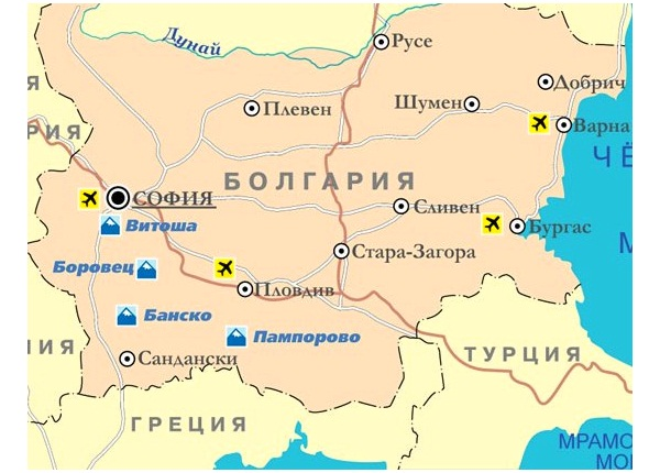 Горнолыжные курорты Болгарии на карте