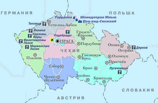 Горнолыжные курорты Чехии на карте