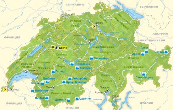 Горнолыжные курорты Швейцарии на карте