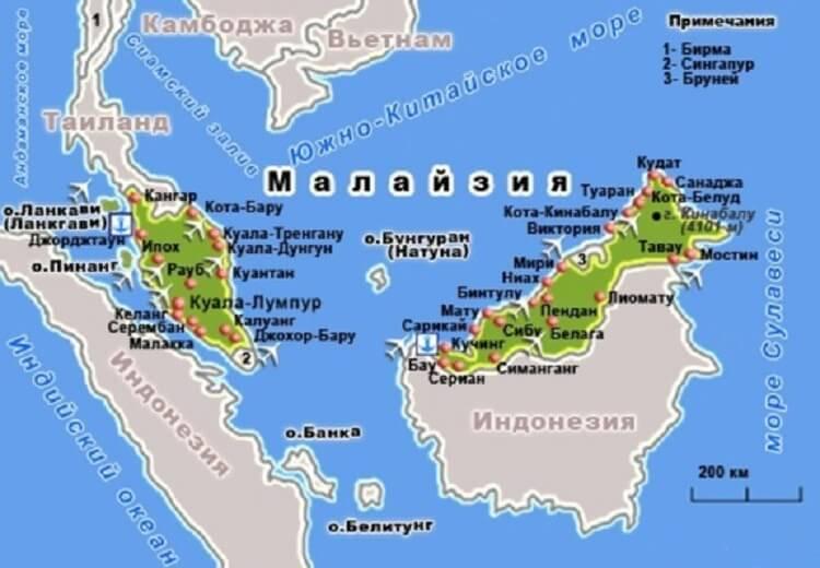 туристические центры страны - карта курортов Малайзии