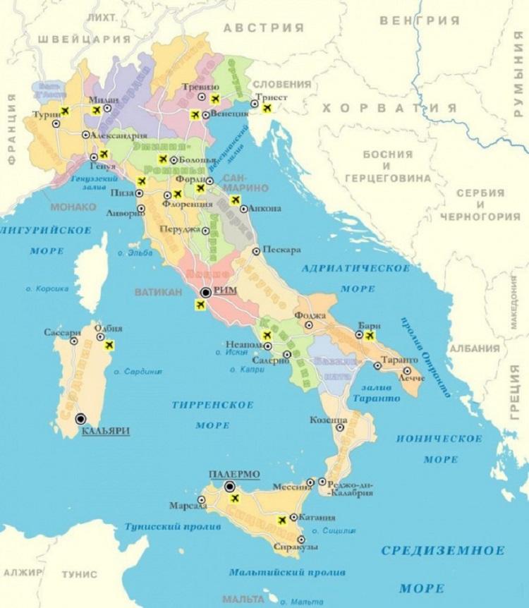 Карта Италии с городами и курортами на русском языке: где находится в мире (сезон)