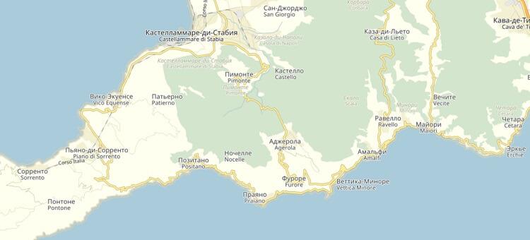 Карта Италии: достопримечательности Амальфитанского побережья с фото (сезон)