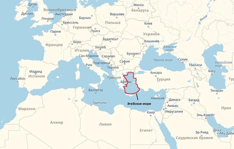 Эгейский бассейн на атласе мира