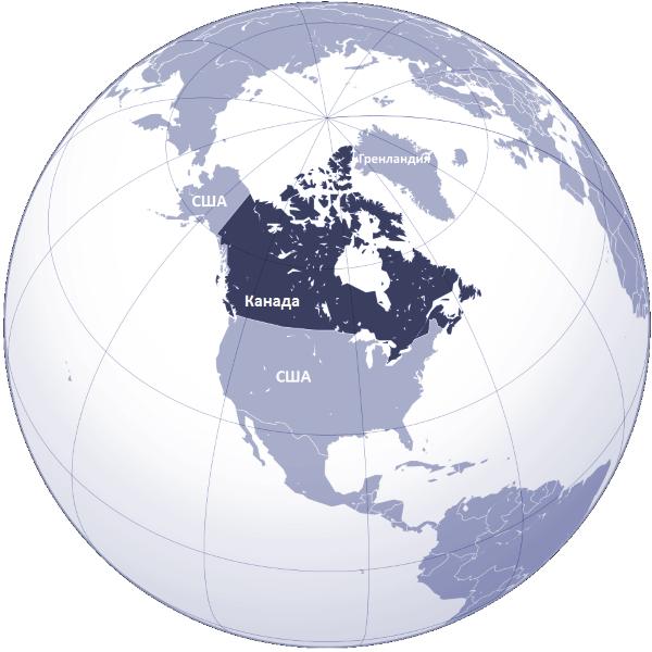 Крупнейшая Канада на карте - столица и самые крупные города на юге (сезон)
