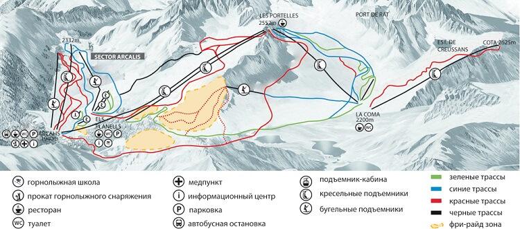 Горнолыжный отдых в Андорре: карта курортов, схема трасс, горные лыжи (сезон)