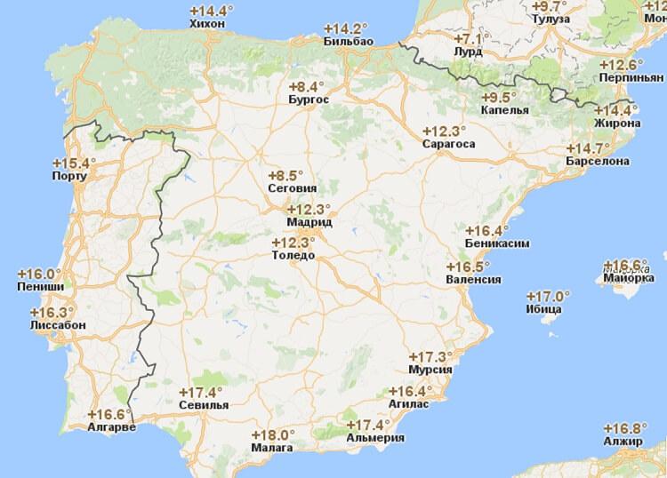 Климат, погода и температура воды в Испании по месяцам: Малага, Майорка (сезон)