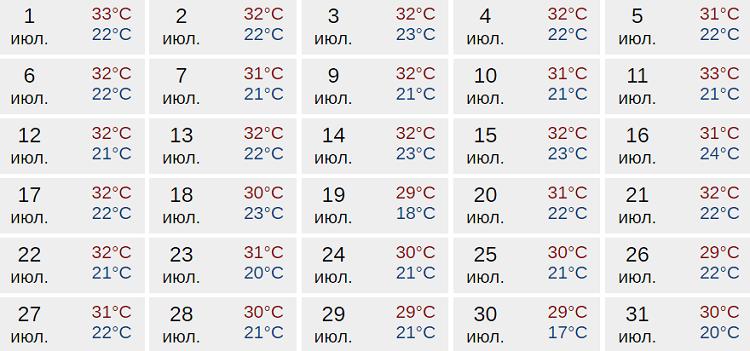 погодный прогноз в середине лета