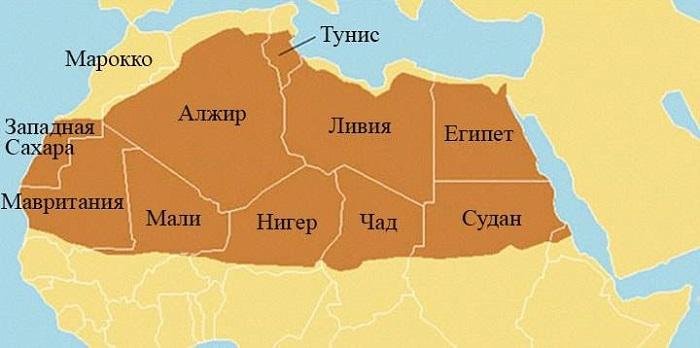 Карта мира и Африки: где и на каком континенте находится Пустыня Сахара? (сезон)