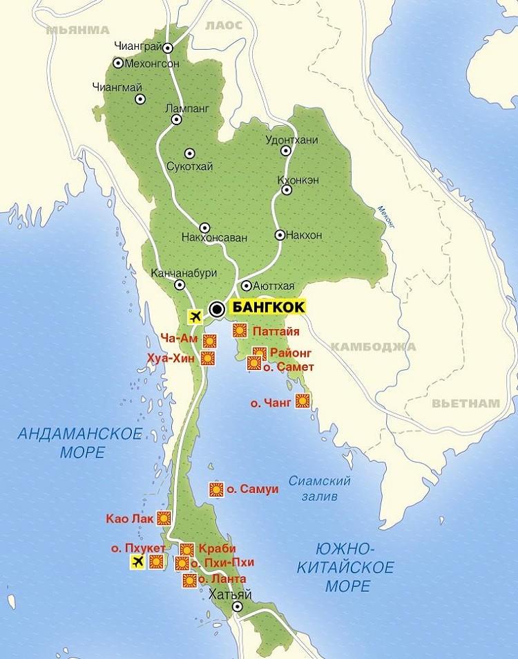 курорт на карте