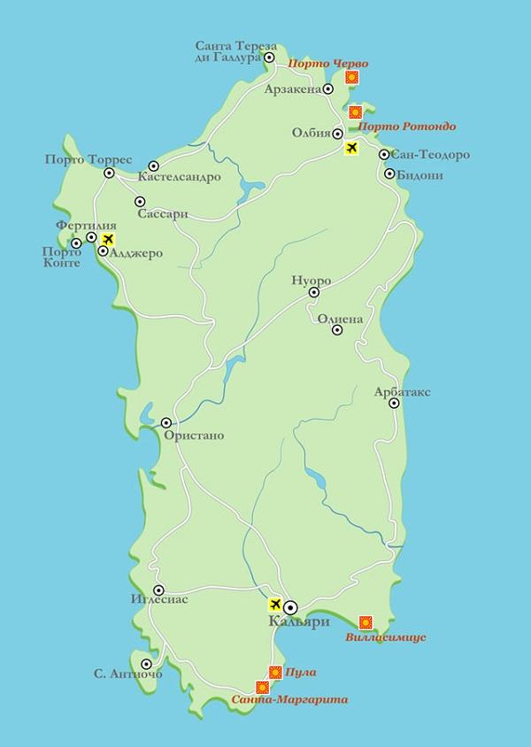 карта острова с городами