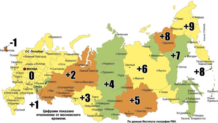 часовые пояса РФ