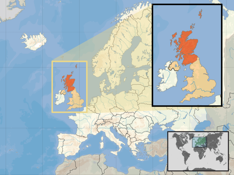 страна на атласе Европы и Великобритании