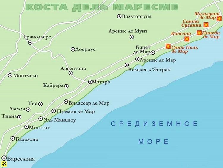 курорт на карте страны