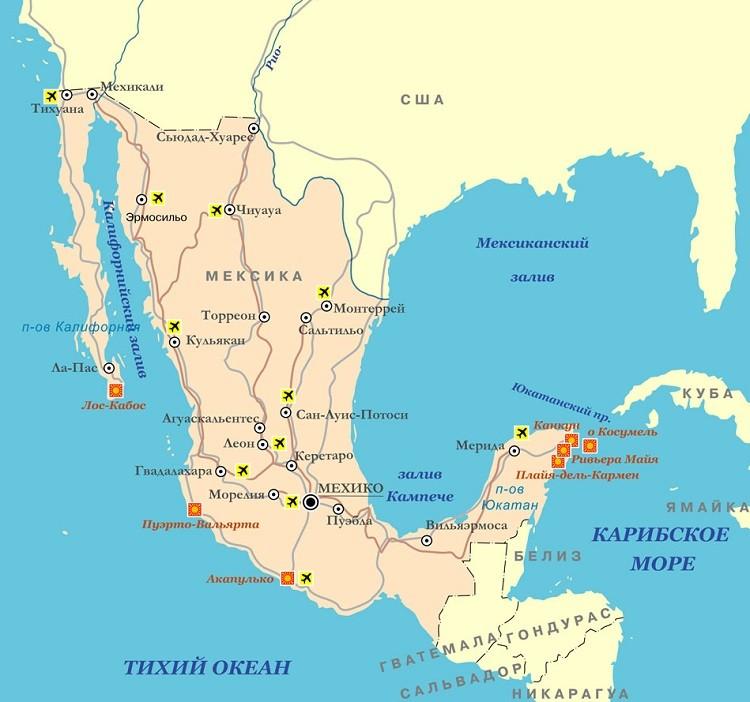 курортные поселения на карте