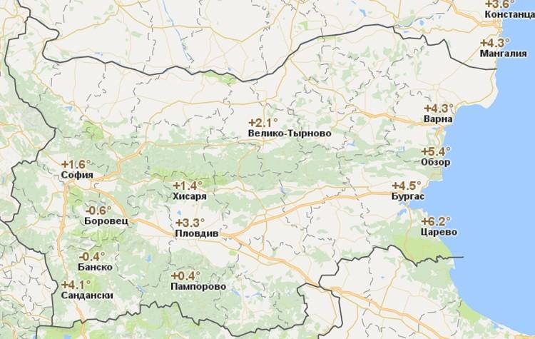 болгарские погодные условия в середине зимы