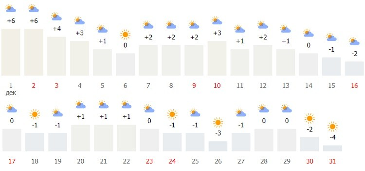 температурные и погодные условия в начале зимы