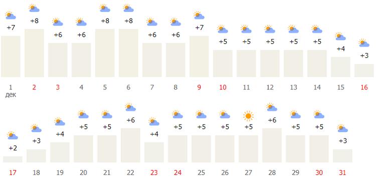 температурные показатели в конце года