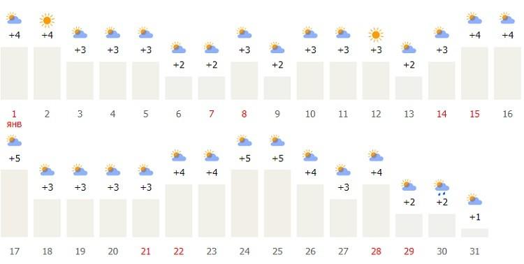 какие температурные показатели и климатические условия в столице в начале года?