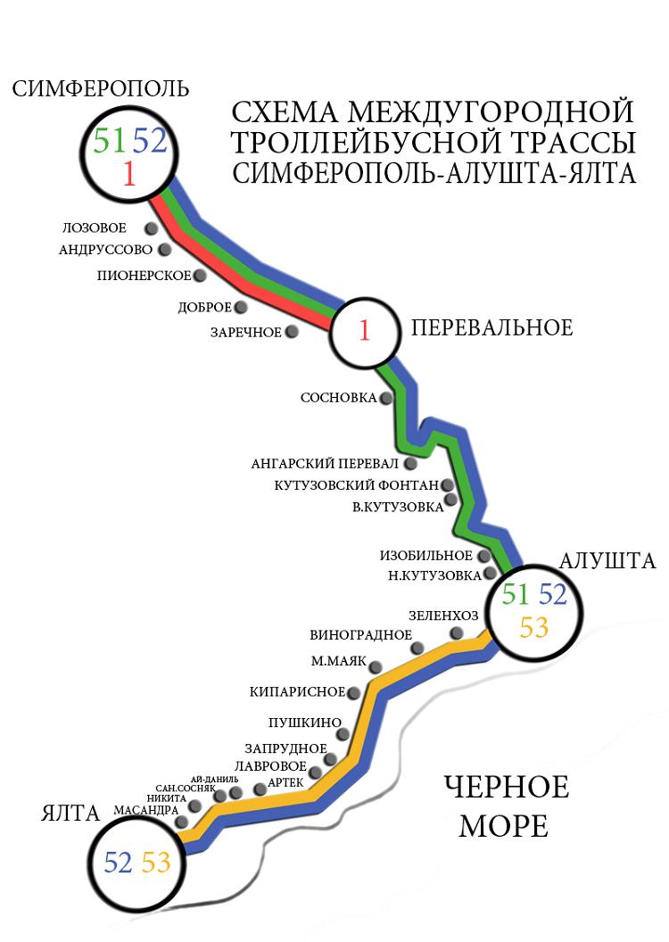 карта троллейбусной линии