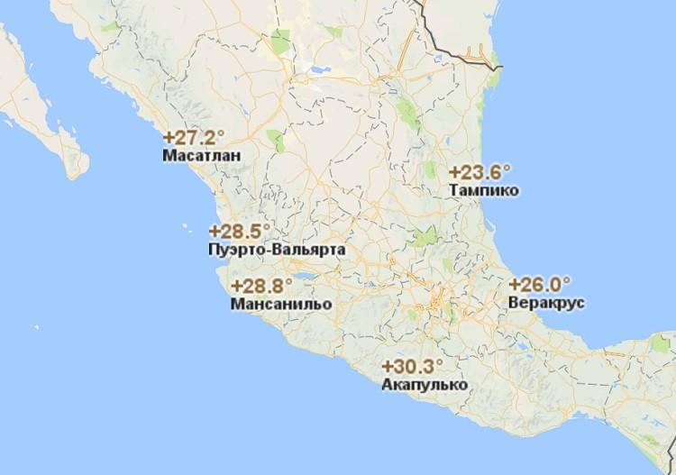 погодные и температурные условия в Мексиканских Соединённых Штатах зимой