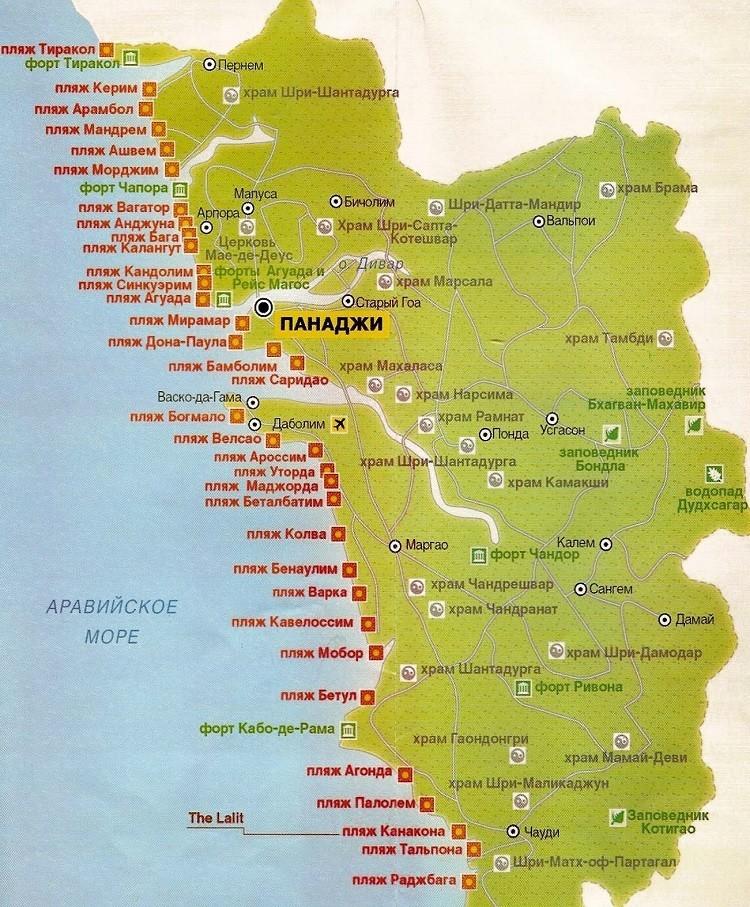побережье курорта на карте