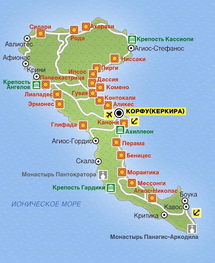 русскоязычная карта курортных мест