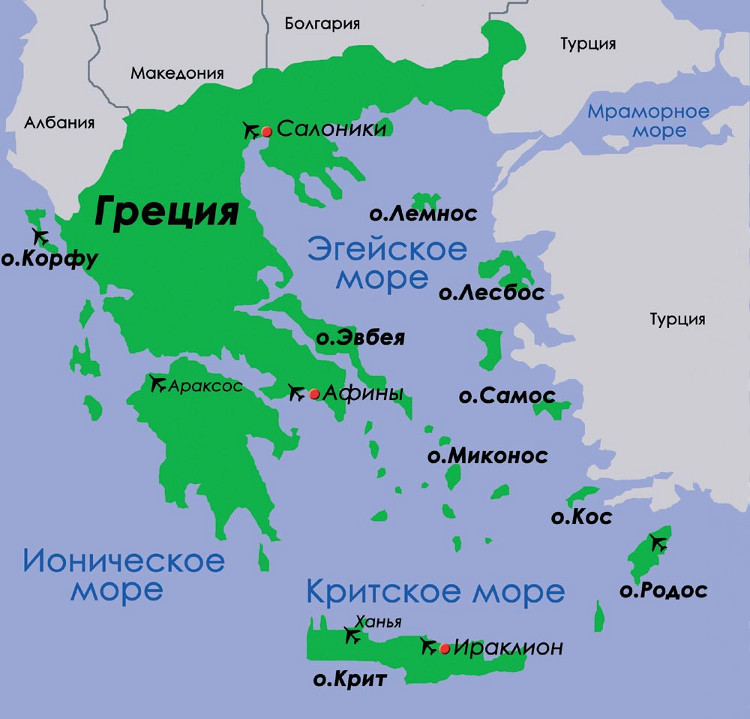 Керкира на мировом, европейском и греческом атласе