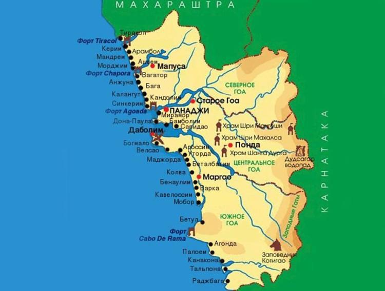 курорт на индийской и северогоанской карте