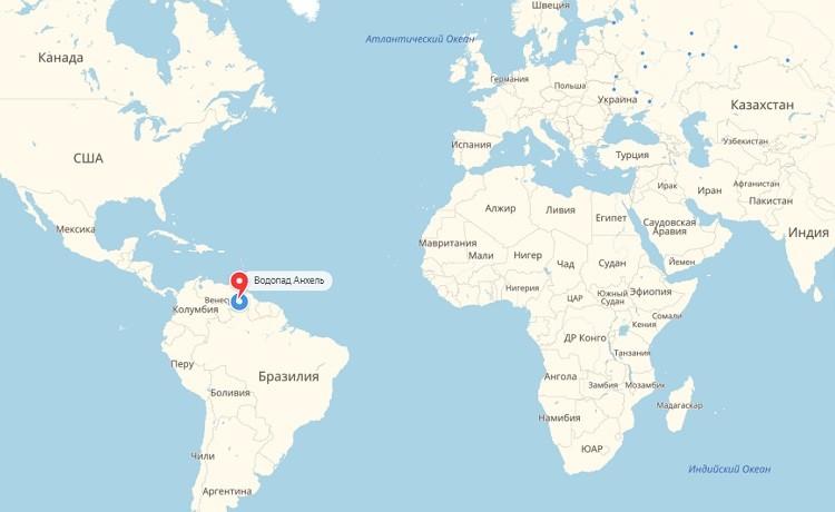 Сальто-Эйнджел на мировом атласе