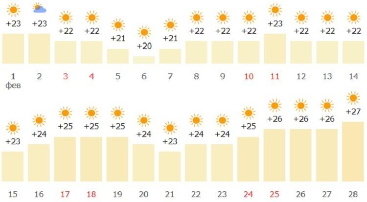 февральский прогноз в эмирате
