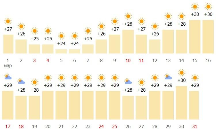 метеопрогноз в эмирате на начало весны