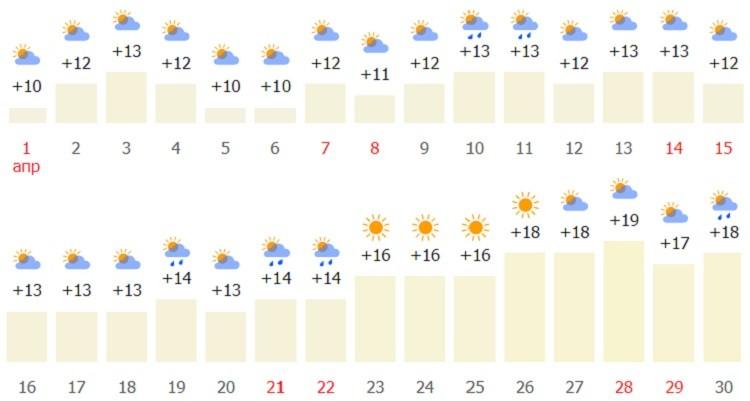 какая температура по прогнозу?